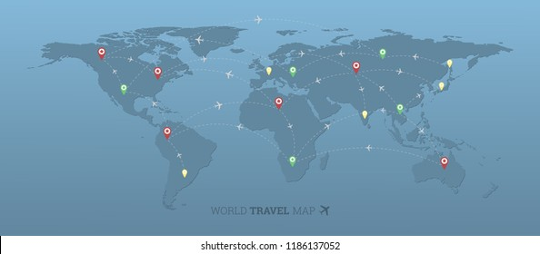 World travel map with airplanes,flight routes and pins marker on capitals vector design,Elements of this image furnished by NASA.