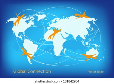 world travel map with airplanes,vector eps10