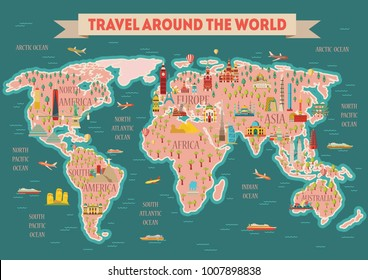 World travel map poster travel tourism vector de stock728487700 world travel map poster travel and tourism background vector illustration gumiabroncs Choice Image