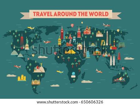 World Travel Map Poster Travel Tourism Stock-Vrgrafik ... on