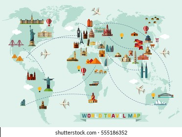 World Travel Map. Vector Illustration.