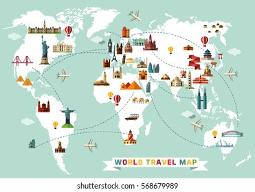 World Travel Map. Vector Illustration.