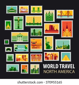 World Travel, North America. Icons set. Stamps with historical architecture in the world. Vector illustration