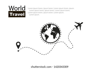 World travel. Travel roundtrip . Plane routes in line. Vector illustration