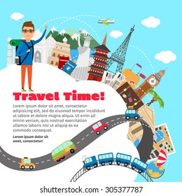 World travel and summer vacation planning. Tripand tourism, holiday and journey, concept, vector illustration