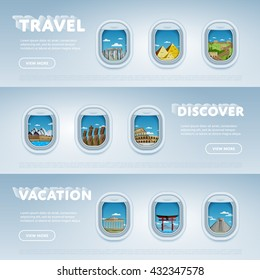 World travel and tourism concept flat vector. Famous world buildings. World travel landmark and famous travel place. Vacation travel architecture in cartoon style