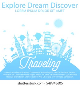 World travel vector blue concept with white background