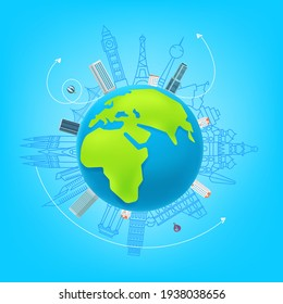 World travel vector concept. illustration with sights