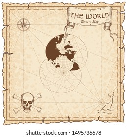 World treasure map. Pirate navigation atlas. Modified stereographic projection for the Pacific ocean. Old map vector.