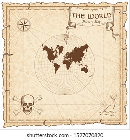 World treasure map. Pirate navigation atlas. Lagrange conformal projection. Old map vector.