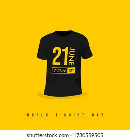 World T-Shirt Day vector with Black t-shirt design. celebrate on 21 June. good for template or mockup of t-shirt