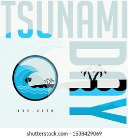 World Tsunami Day, Tsunami icon, November 05, vector design