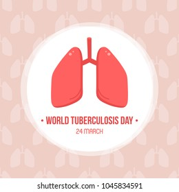 World tuberculosis day card, vector illustration with cute cartoon pair of lungs.