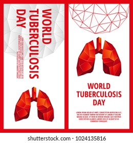 World Tuberculosis Day flyer template. Abstract anatomy organ. Lungs in 3D polygon style.