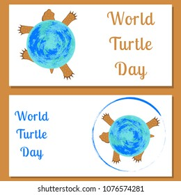 World Turtle Day. Reptile turtle. Land tortoise. View from above. Walking, running. The tortoise shell is the planet Earth. Flyers for event participants.