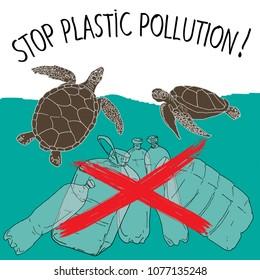 World Turtle Day. Stop plastic pollution. Vector illustration.