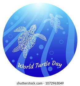 World Turtle Day. Water turtles swim up. Rays, bubbles, light. Drawing in ethnic aboriginal style. Blue background. In a round frame