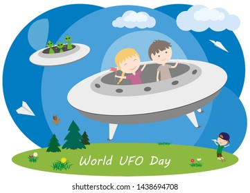 World UFO Day. Children fly on a flying saucer. Green aliens on a spaceship. Children dreams.