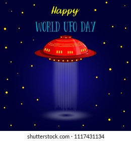 World UFO Day. Flying Saucer, Spaceship And UFO card vectr illustration. Cartoon funny UFO, unidentified spaceship and spacecrafts from alien invaders,