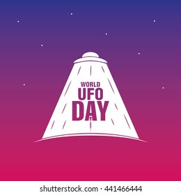 World UFO Day. Flying saucer. Planet and spaceship. Vector. EPS10