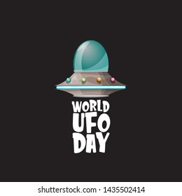 world ufo day greeting card or print with flying Saucer. Cartoon Flying Saucer