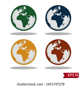 World vector icon set. Planet Earth Icons. Earth globe icon with a white background. red, yellow, green and blue globe.