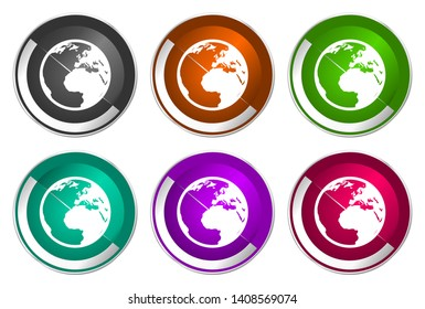 World vector icons, globe and earth illustration