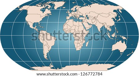 World Vector Map Countries Graticule Robinson Stock Vector Royalty