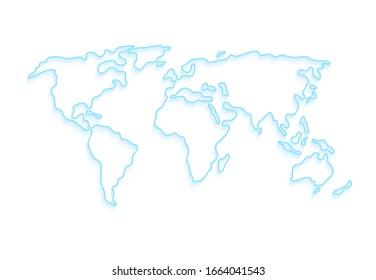 Weltkarte der Vektorillustration. Planet Erde stylisierte Vorlagenlinie Umriss mit Schatten. Abstrakte blaue Illustration auf weißem Hintergrund.