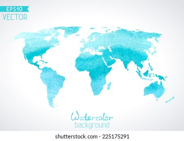 World vector watercolor map isolated on light background. Vector illustration.