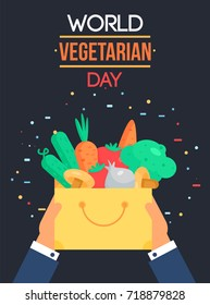World Vegetarian Day Celebration Banner With Vegetables. Vector