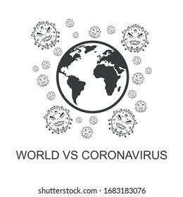 world versus corona virus illustration