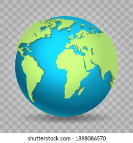 World view 3d. Vector globe map design isolated on transparent background, asia africa america and europe planet with shadow, travel earth for concepts and infographics