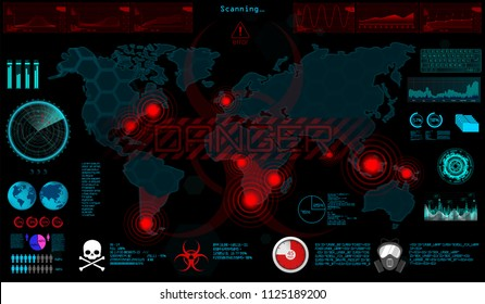World Virus (GUI) in HUD style. The Spreading Virus on The World Map, The Threat of Infection of The World. Otic Infected Areas, Quarantine Zones, Epidemic, Ebola, Apocalipsis. Vector illustration