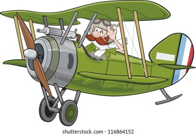 A world war 1 era sopwith camel airplane with a brave pilot cartoon