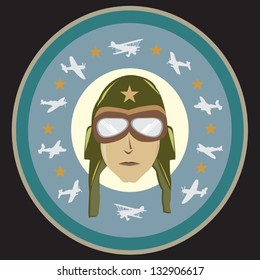 World War 2 Pilot with Vintage Airplanes and Stars Vector Art in Black background. Colors and size can be changed.