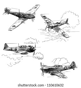 world war aircraft - hand drawn collection