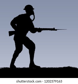 World War British Empire or US soldier with a gas mask silhouette. 1916 - 1918 uniform. Original illustration. (Soldier layer separate from ground in vector)