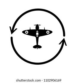 World War II airplane fly machine vector icon
