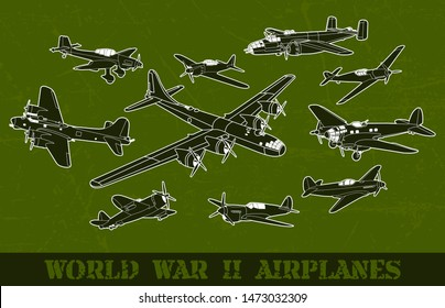 World war II most famous airplanes collection in green scratch vector background. Vector illustration set.