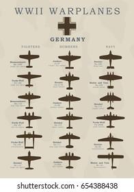 World War II warplanes in vector silhouette line illustrations