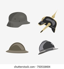 world war military helmet vector illustration