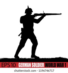 World War One German soldier silhouette. 19-14 - 1916 uniform. Original illustration. Soldier layer separate from grass in vector.