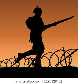 World War One German soldier charging silhouette. 1914 - 1916 uniform. Original illustration. Soldier layer separate from grass in vector.