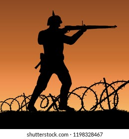 World War One German soldier shotting silhouette. 1914 - 1916 uniform. Original illustration. Soldier layer separate from grass in vector.
