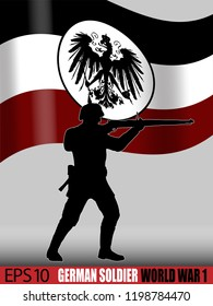 World War One German soldier with gun. Silhouette against a German Empire styled flag. 1914 - 1916 era uniform. Original illustration.