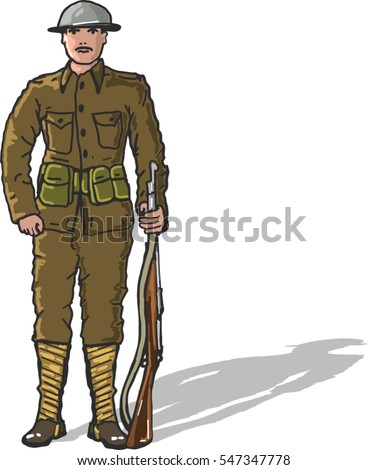 World War One Us Marine Soldier Stock Vector Royalty Free