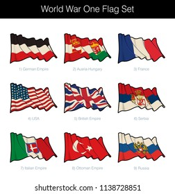 World War One Waving Flag Set. The set includes the flags USA, Serbia, Russia and of the German, Austria-Hungary, Italian, Ottoman and British Empires. Vector Icons. Sepia overlay on a separate layer