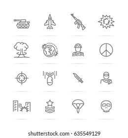 world war vector line icons, minimal pictogram design, editable stroke for any resolution