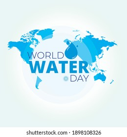 World Water Day with background globe for banner, poster or social media
